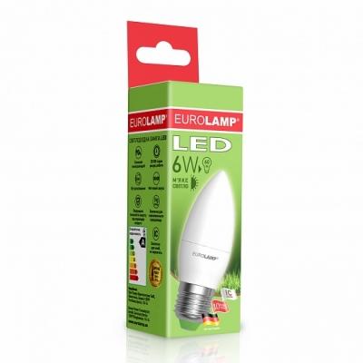 """Светодиодная лампа EUROLAMP LED ЕКО свеча """"D"""" CL 6W E27 3000K  LED-CL-06273(D)"""