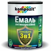 Эмаль антикоррозионная Kompozit 3 в 1 черная 2,7 кг.