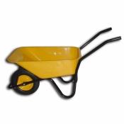 Тачка BudMonster строительная 1-колёсная, кузов жёлтый 80л, рама черная, г/п-200кг, колесо пневмо 4х8 01-006