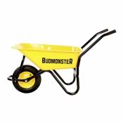 Тачка BudMonster строительная 1-колёсная, кузов жёлтый 80л, рама чорн., г/п-200кг, колесо пневмо 4х8