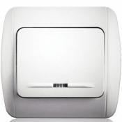 Выключатель 1-одноклавишный с подсветкой Erste Classik 9201-01N,W белый