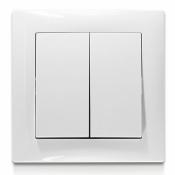 Выключатель 2-клавишный Erste 9202-02,W белый